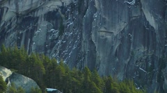 """The Chief"" Granite rock Climbing cliff in Squamish (zoom out) to Pier Stock Footage"