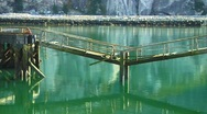 Stock Video Footage of Abandoned wooden Pier over green Ocean water (slow pan)