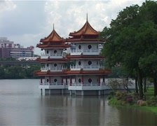 Zoom out from The Pagoda Twins, Singapore_GFSD Stock Footage