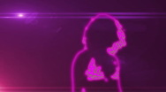 Ser-9 - neon outlined gogo dancer silhouette in pink with lens flare Stock Footage
