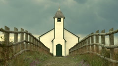 Country church zoom out Stock Footage