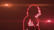Ser-9 - neon outlined gogo dancer silhouette in red with lens flare Stock Footage