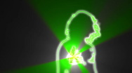 Ser-9 - neon outlined gogo dancer silhouette in green with light ray Stock Footage