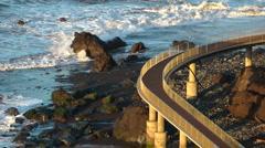 Path at the coast Madeira Stock Footage