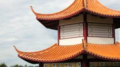 Edmonton Chinese Garden Pagoda Stock Footage