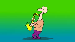 SAXOPHONIST,The man fixes the shape of the saxophone while playing it. Stock Footage