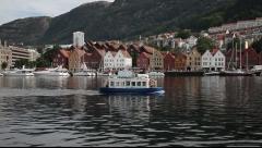 Bryggen in Bergen Stock Footage