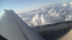 Clouds and wing plane Stock Footage