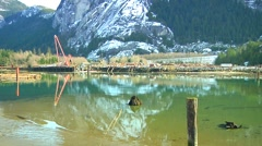 Logging Operations in harbour and Granite Cliff mountain (n-tilt-pan) Stock Footage