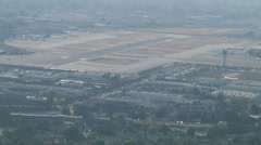 Airport with a few planes-Hazy - stock footage