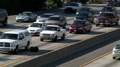 Traffic Avoids Trash Can In Lane Stock Footage
