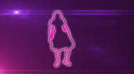 Ser-12 - neon outlined gogo dancer silhouette in pink with lens flares Stock Footage