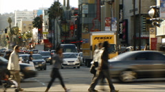 Hollywood 03 Timelapse Traffic and crowds Stock Footage