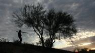 Photographer Silhouette Sunset Stock Footage