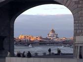 View on  city through bridge arch. Stock Footage