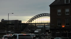 Rush hour traffic queueing at traffic lights on Newcastle Quayside. Stock Footage