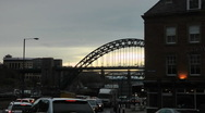 Stock Video Footage of Rush hour traffic queueing at traffic lights on Newcastle Quayside.