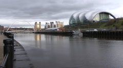 Sage Centre, Gateshead seen across the river Tyne Stock Footage