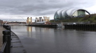 Stock Video Footage of Sage Centre, Gateshead seen across the river Tyne