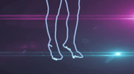 Ser-14 - neon outlined gogo dancer silhouette in blue with lens flares Stock Footage