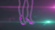 Ser-14 - neon outlined gogo dancer silhouette in pink with lens flares Stock Footage