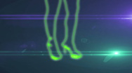 Ser-14 - neon outlined gogo dancer silhouette in green with lens flares Stock Footage