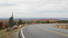 Cadillac Mountain road pan, Acadia National Park, Maine Stock Footage