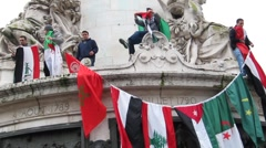 Paris, France, Libya Demonstration, in Support of Libyan Revolution,  Stock Footage