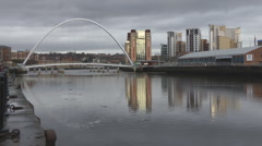 Reflections of Tyne Millennium Bridge and Baltic art Gallery Stock Footage
