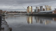 Stock Video Footage of Reflections of Tyne Millennium Bridge and Baltic art Gallery