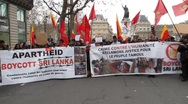 Stock Video Footage of Paris, France, Libya Demonstration, in Support of Libyan Revolution,