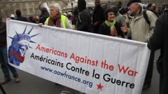 Paris, France,  American Expats Marching WIth Banner,  Arab Spring Demonstration Stock Footage
