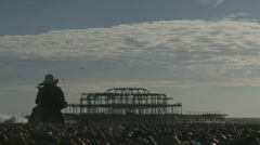 LADY WATCHES PIER IN DAZE Stock Footage