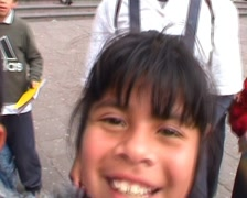 San francisco church, schoolkids in front of camera Stock Footage