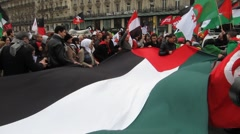 Paris, France, Libya Demonstration, in Support of Libyan Revolution,  - stock footage