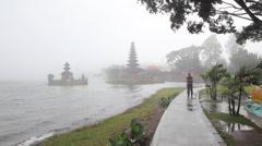 Pura Ulu Danau Temple on Beratan lake Stock Footage