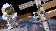 Stock Video Footage of HD Astronaut on Spacewalk Near International Space Station