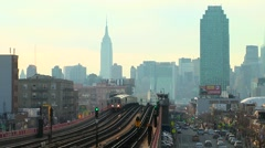 New York City Skyline With 7 Train Passing Stock Footage