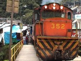 Train leaves from Aguas Calientes Stock Footage