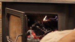 Fire in a wood burning stove Stock Footage