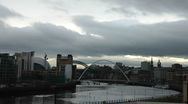 Stock Video Footage of Millennium Bridge, Tyne Bridge, Baltic Art Gallery and Sage Centre, Newcastle