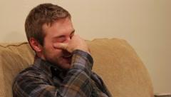 Man rubbing his eyes  Stock Footage
