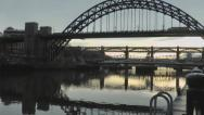 Stock Video Footage of Pan up to Tyne Bridge from mooring ring on quayside