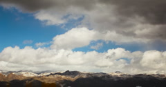 2K Video format - The end of a winter storm passes over snow capped mountains Stock Footage