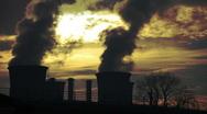 Power Plant Smoke Stacks Stock Footage