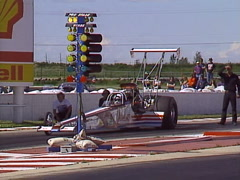 Motorsports, Drag Racing, Top Alcohol dragster race  single pass 199 MPH 6.7 sec Stock Footage
