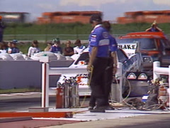 Motorsports, drag racing, Top Fuel funny car burnout Stock Footage