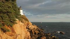 Bass Harbor lighthouse golden light Stock Footage
