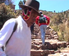 Taquile island, tourists walking Stock Footage