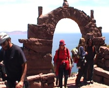 Taquile island, tourist at the entrance Stock Footage